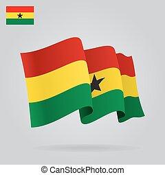 ガーナ, flag., ベクトル, 振ること, 背景