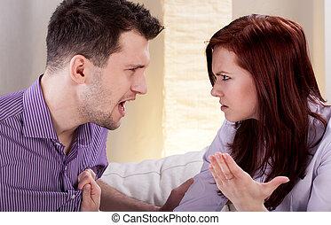 ガールフレンド, 彼の, 叫ぶ, 人