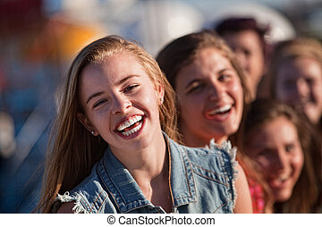 ガールフレンド, 若い, ブロンド, 笑い