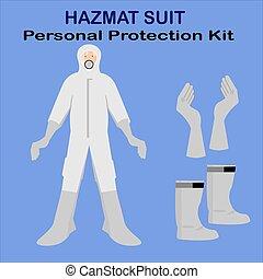 キット, 白, 安全スーツ, hazmat, 保護, 個人的