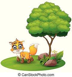 キツネ, 木, 背景, 下に, 白, 漫画