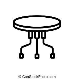 キャスター, 柱, 3, ベクトル, テーブル, ポータブル, アイコン, アウトライン, ラウンド, イラスト