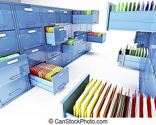 キャビネット, ファイル, 3d