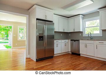 キャビネット, 広葉樹材の床, 内部, 白, 流し, 台所