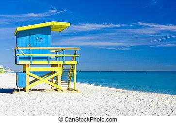 キャビン, 浜, マイアミ 浜, フロリダ, アメリカ
