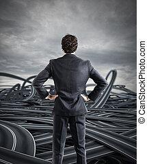 キャリア, ビジネスマン, 概念, 困難, 選択