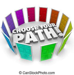 キャリア, 機会, 仕事, 選びなさい, ドア, 方向, 道, あなたの