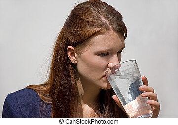 キャリア, 水, 飲むこと, 女, 氷