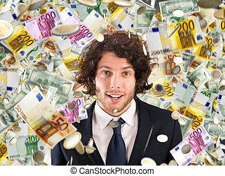 キャリア, 紙幣, 雨, 概念, 成功