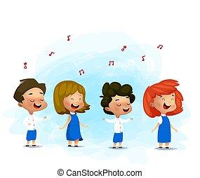 キャロル, イラスト, 子供, ベクトル, 歌うこと, クリスマス
