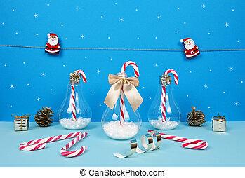 キャンデー, クリスマスの ギフト, santa, canes., 構成