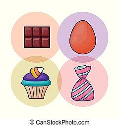 キャンデー, セット, おいしい, cupcake