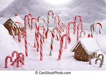 キャンデー, 森林, コテッジ, クリスマス, bread, 杖, ショウガ
