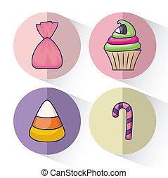キャンデー, 甘い, セット, おいしい, cupcake
