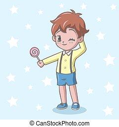 キャンデー, 男の子, 保有物, わずかしか, lollipop, 漫画