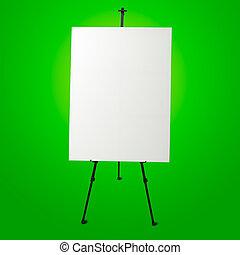 キャンバス, イーゼル, 現代, 緑, 背景, 白, 空