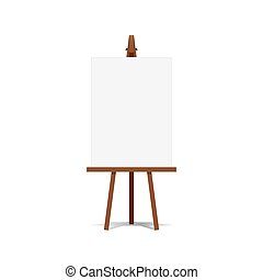 キャンバス, イーゼル, 芸術, スペース, プレゼンテーション, 広告, vector., ブランク, 準備ができた, あなたの