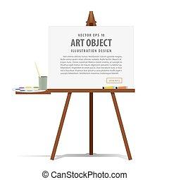キャンバス, イーゼル, 芸術, プレゼンテーション, イラスト, 装置, 広告, vector., 絵