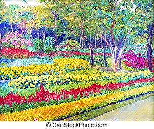 キャンバス, オイル, 色, salvia, flowers., 絵, オリジナル, 風景