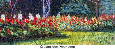 キャンバス, オイル, 色, salvia, flowers., 絵, 風景