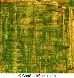 キャンバス, ブラウン, 抽象的, 黄色, 水彩画, 手ざわり, 緑