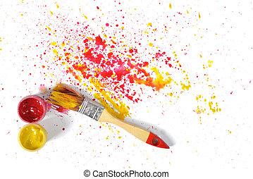 キャンバス, ペンキ, 上, 黄色, スプレー, gouache, ブラシ, 白い赤, 光景
