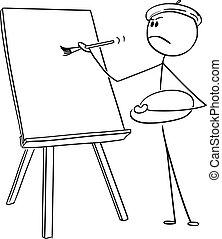 キャンバス, 芸術家, ベクトル, ブラシ, 絵, 漫画, 人