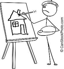 キャンバス, 芸術家, 家, ベクトル, ブラシ, amateurish, 絵, 漫画, 人