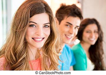 キャンパス, グループ, 若い, 生徒