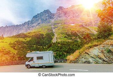 キャンパー, 山, 旅行