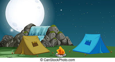 キャンプ場, 光景, 夜