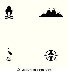 キャンプ, アイコン, セット