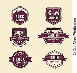 キャンプ, アイコン, ハイキング, -, セット, バッジ, 要素