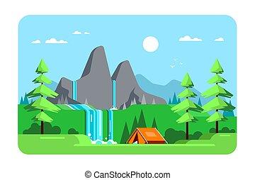 キャンプ, イラスト, デザイン, 平ら, 区域, 風景, 夏