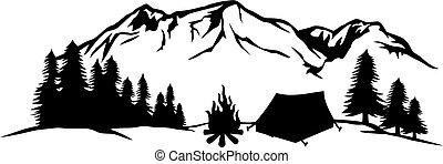 キャンプ, キャンプファイヤー, (tourist, テント, 風景, 旅行, 山, design), -