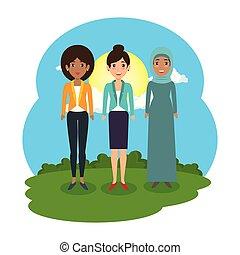 キャンプ, グループ, 女性