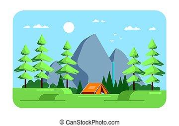 キャンプ, デザイン, 夏, 区域, 風景, イラスト, 平ら