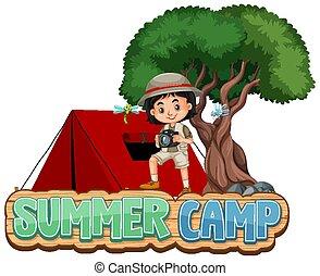 キャンプ, 夏, 単語, 壷, デザイン, 赤, テント, 女の子