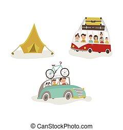 キャンプ, 家族, バス, 旅行, 自動車, テント
