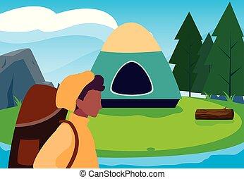 キャンプ, 森林, 人, 川の景色, テント