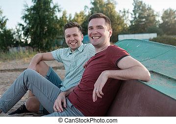 キャンプ, 男性, 棒, 2, 釣り, シニア, 休日