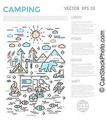 キャンプ, 縦, infographic