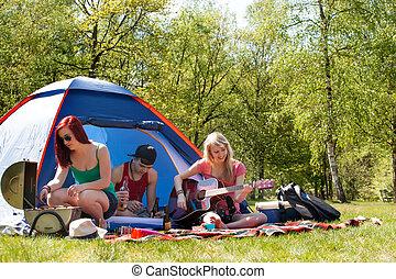 キャンプ, 若いティーンエージャー, 時間, 持つこと, すてきである