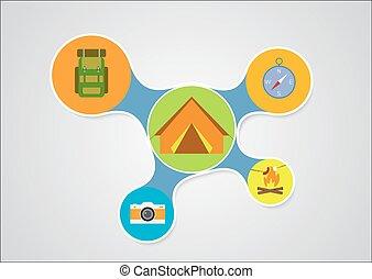 キャンプ, infographic, デザイン