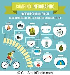 キャンプ, infographic, 平ら, スタイル