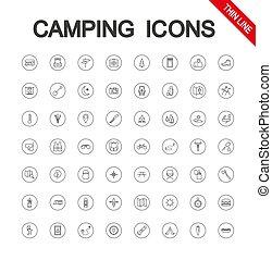 キャンプ, set., editable, 薄くなりなさい, vector., icon., 線