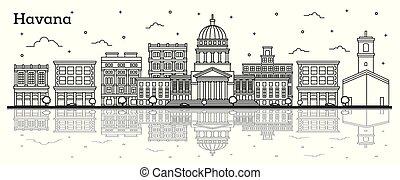 キューバ, 反射, 隔離された, 歴史的な建物, ハバナ, 都市 スカイライン, white., アウトライン