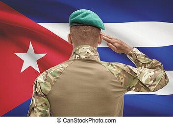 キューバ, 肌が黒, -, 兵士, 旗, 背景