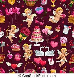 キューピッド, バレンタイン, seamless, 日, パターン, 心, 愛