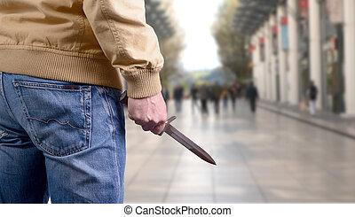 キラー, 場所, 公衆, ナイフ, 攻撃